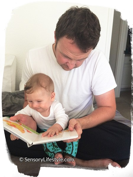 Josh reading with daddy