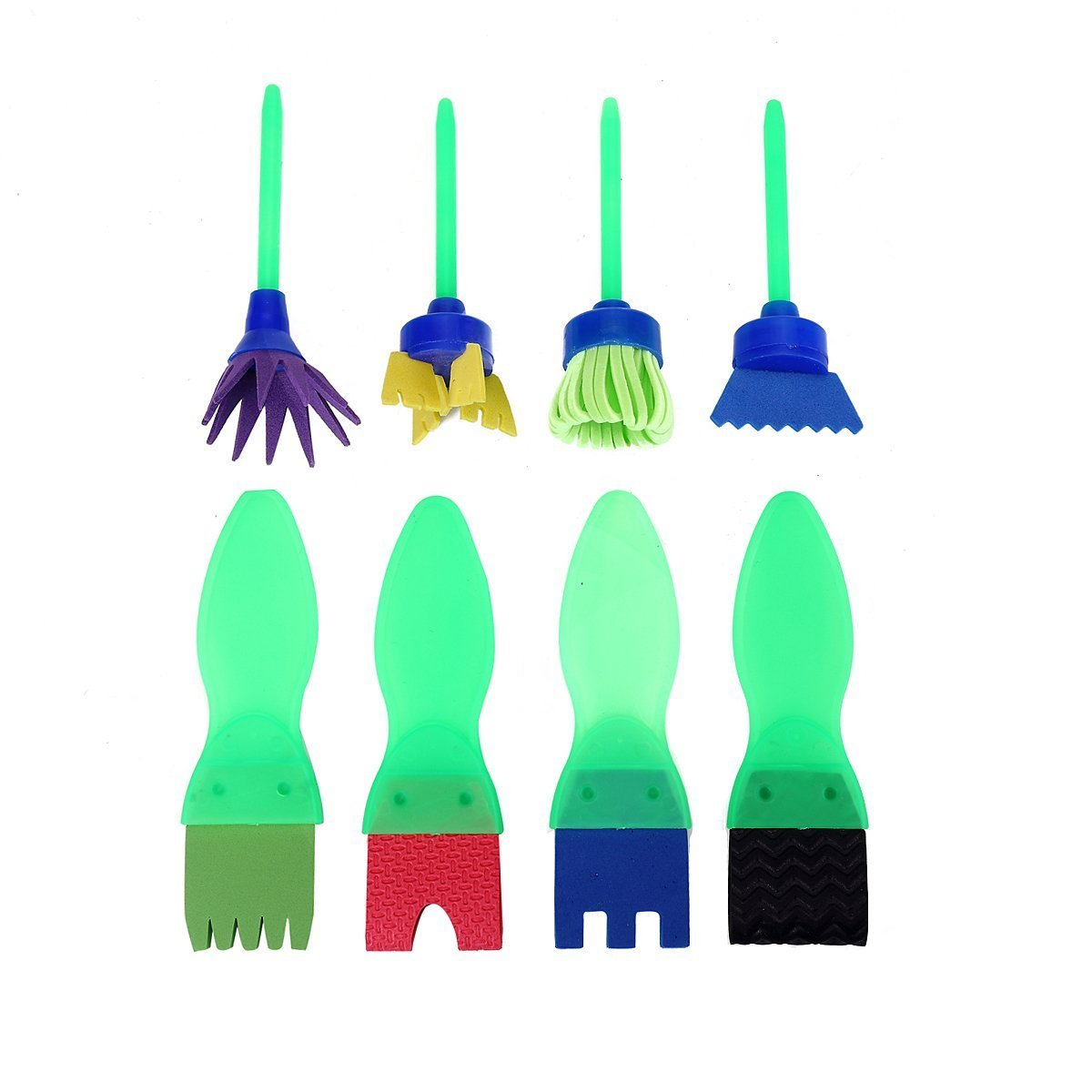 9 green textured paint brushes