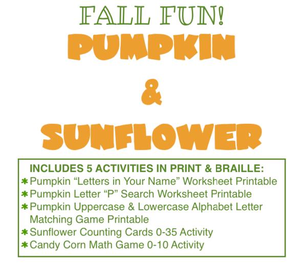 Fall Fun! Pumpkin and Sunflower Activities