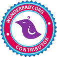 purple bird logo in circle center WonderBaby.org Contributor
