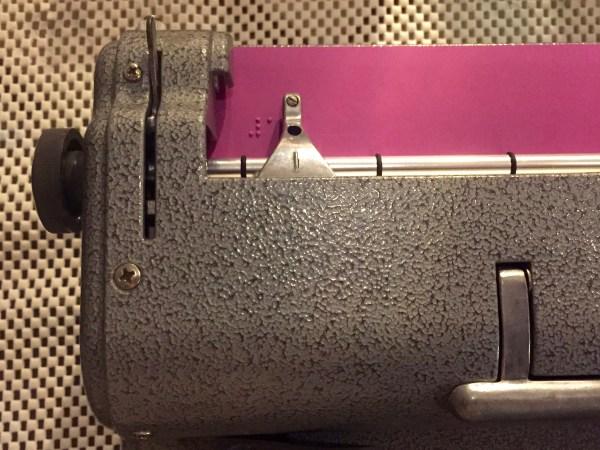 purple paper in brailler