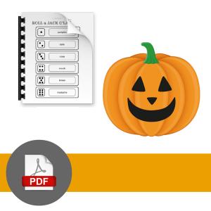 PDF download symbol with jack o'lantern