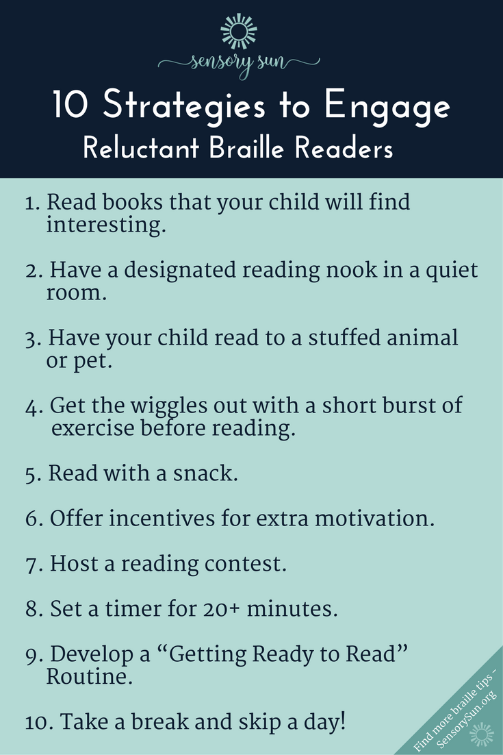 10 strategies to engage a reluctant braille reader infographic list