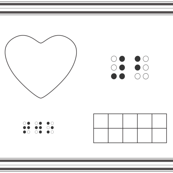 Number mats with Heart shape with braille number 2, number word and ten frame