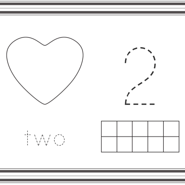 heart shape number mats with number 2, number word and ten frame