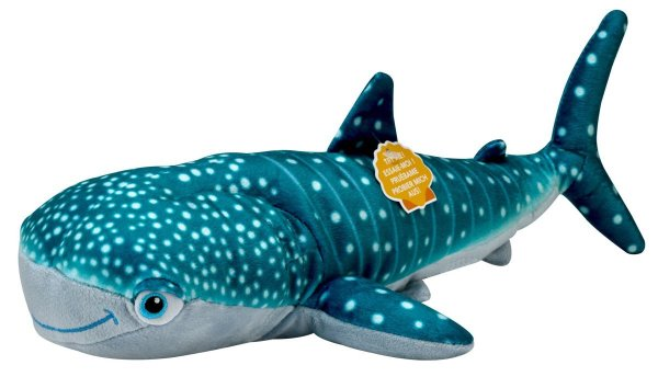 teal blue and gray plush whale toy