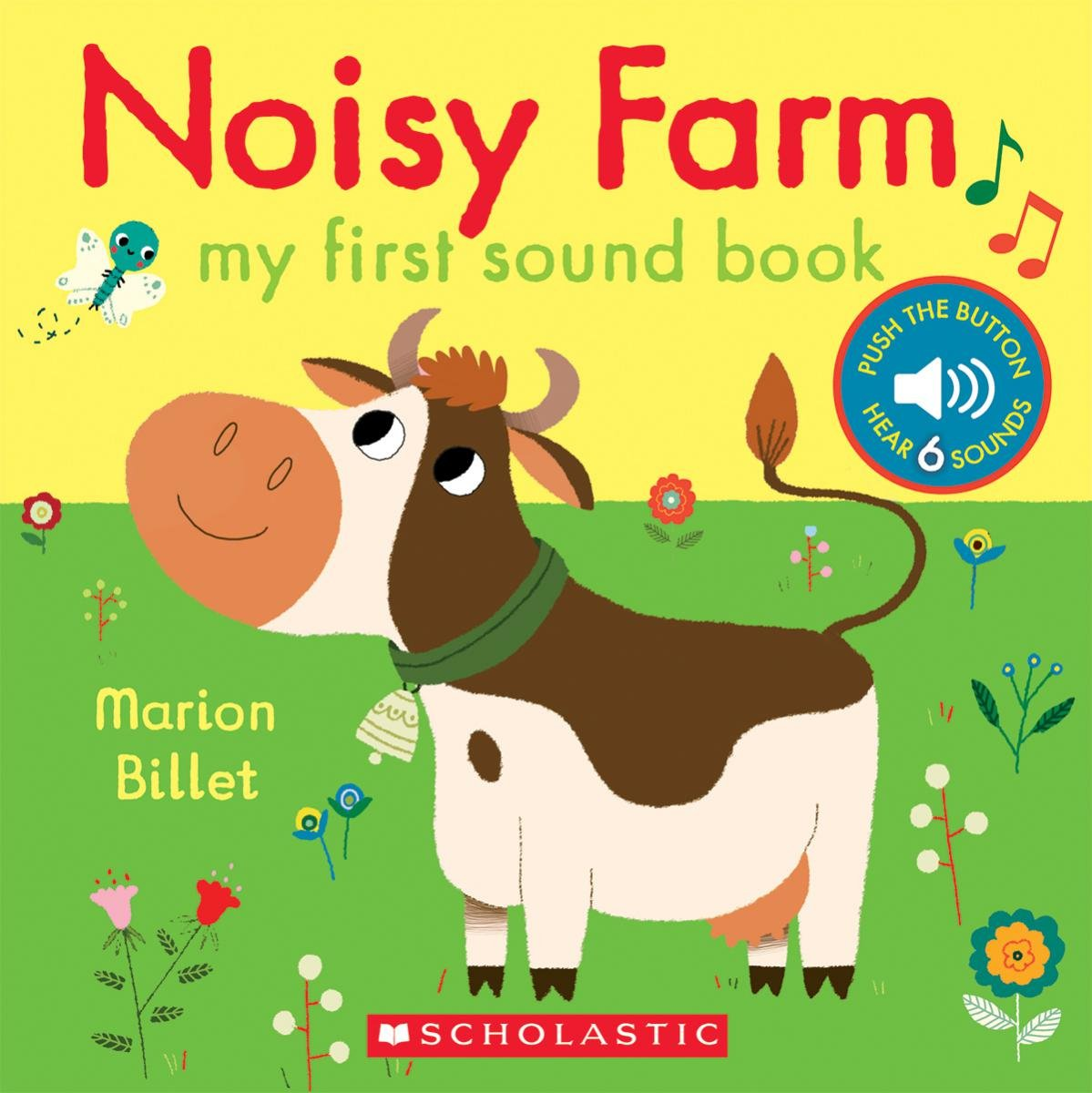 Noisy Farm book cover featuring cartoon cow on green grass