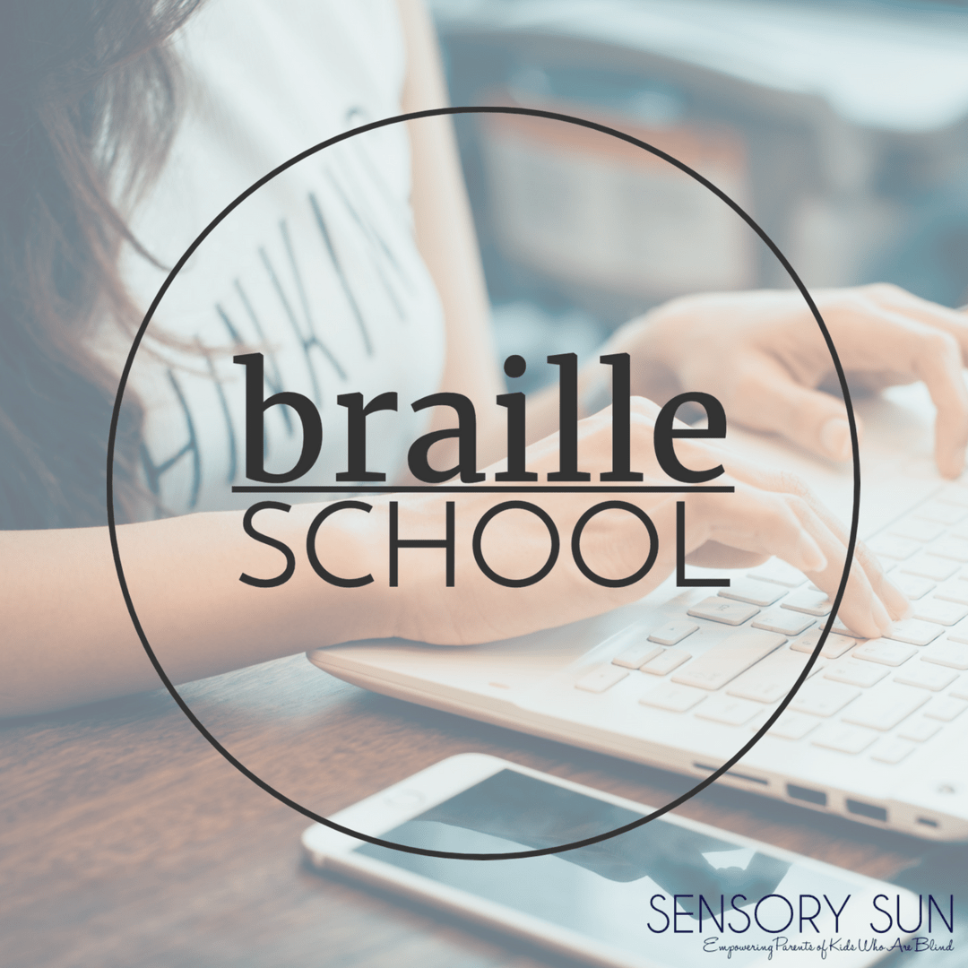 braille school logo with woman using laptop in background