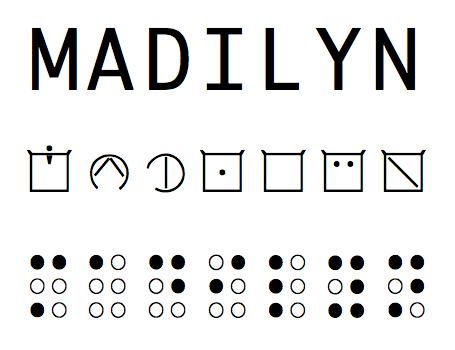Madilyn in print, ELIA and braille