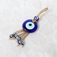 Oeil porte-bonheur Turc, sur corde tressée, longueur 17 cm