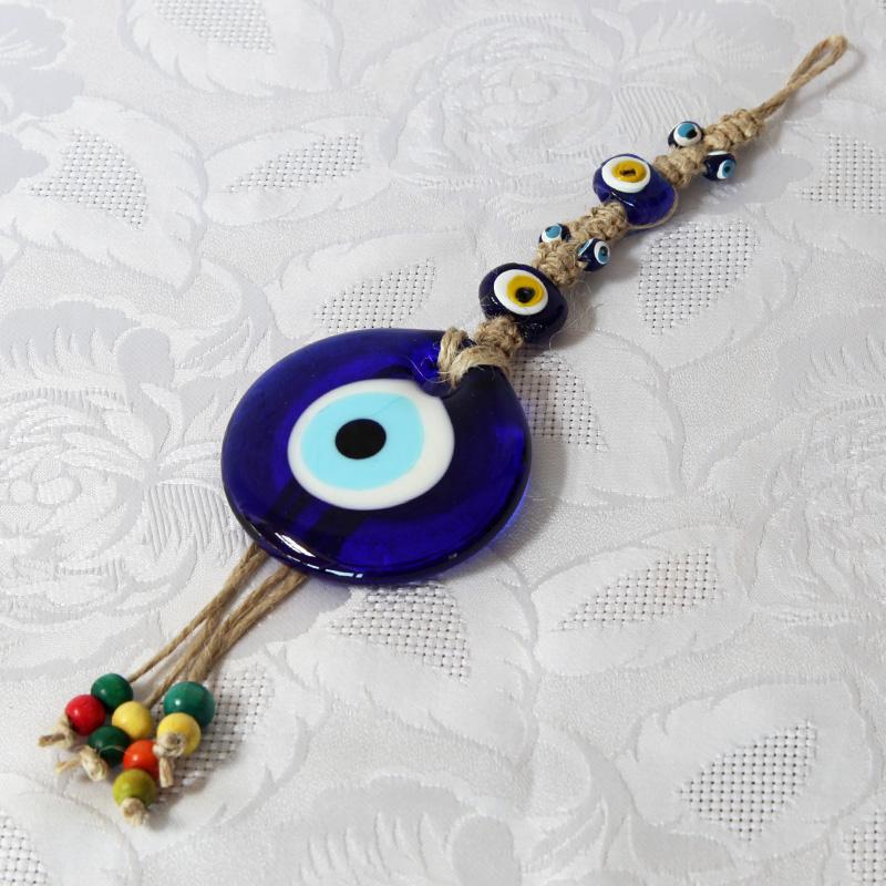 Oeil Turc, tresse macramé à suspendre (25 cm)