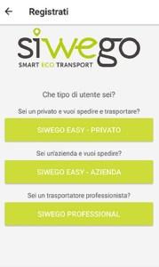 SiWeGo - Smart Eco Transport (Android); schermata di sottoscrizione/attivazione del servizio