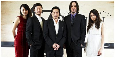 47 RONIN - cast - in senso orario, Rinko Kikuchi, Tadanobu Asano, Hiroyuki Sanada e Kô Shibasaki