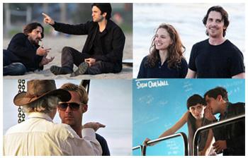 Christian Bale, Wes Bentley, Natalie Portman, Ryan Gosling, Rooney Mara - sui set di Terrence Malick