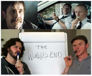 Paddy Considine in The World's End, con Simon Pegg e Nick Frost
