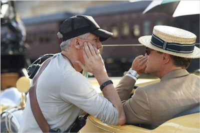 Baz Luhrmann e Leonardo Di Caprio sul set di The Great Gatsby