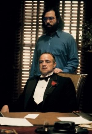 Francis Ford Coppola e Marlon Brando sul set de Il Padrino