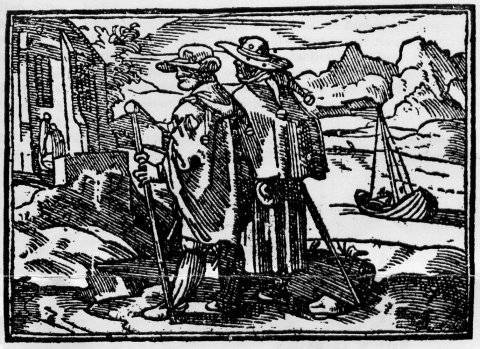 Pèlerins. Illustration tirée de la Nef des fous de Sébastien Brant.