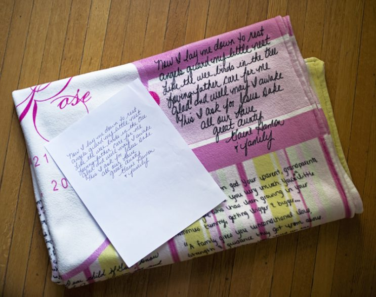 Handwritten letters to create a personalized baby blanket