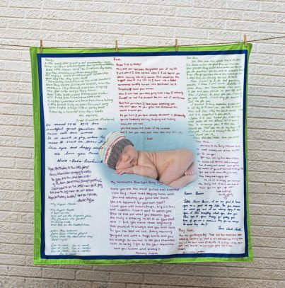 Photo blanket with personalized hand written letters to cherish forever.