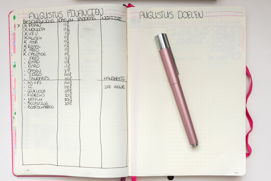 Bullet Journal Augustus Setup met filmpje + Nieuwe Fountain Pen (LAMY Scala Fountain Pen - Rose)