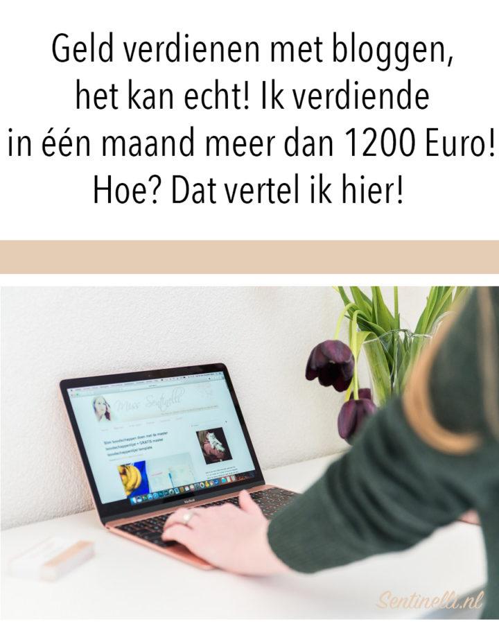 Geld verdienen met bloggen, het kan echt! Ik verdiende in één maand meer dan 1200 Euro! Hoe? Dat vertel ik hier!
