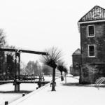 De haven van Leerdam in de sneeuw
