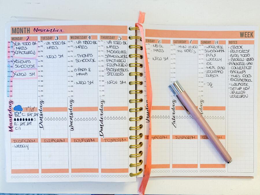 November planning in de Josh V Mascha Planner - Wekelijkse planning