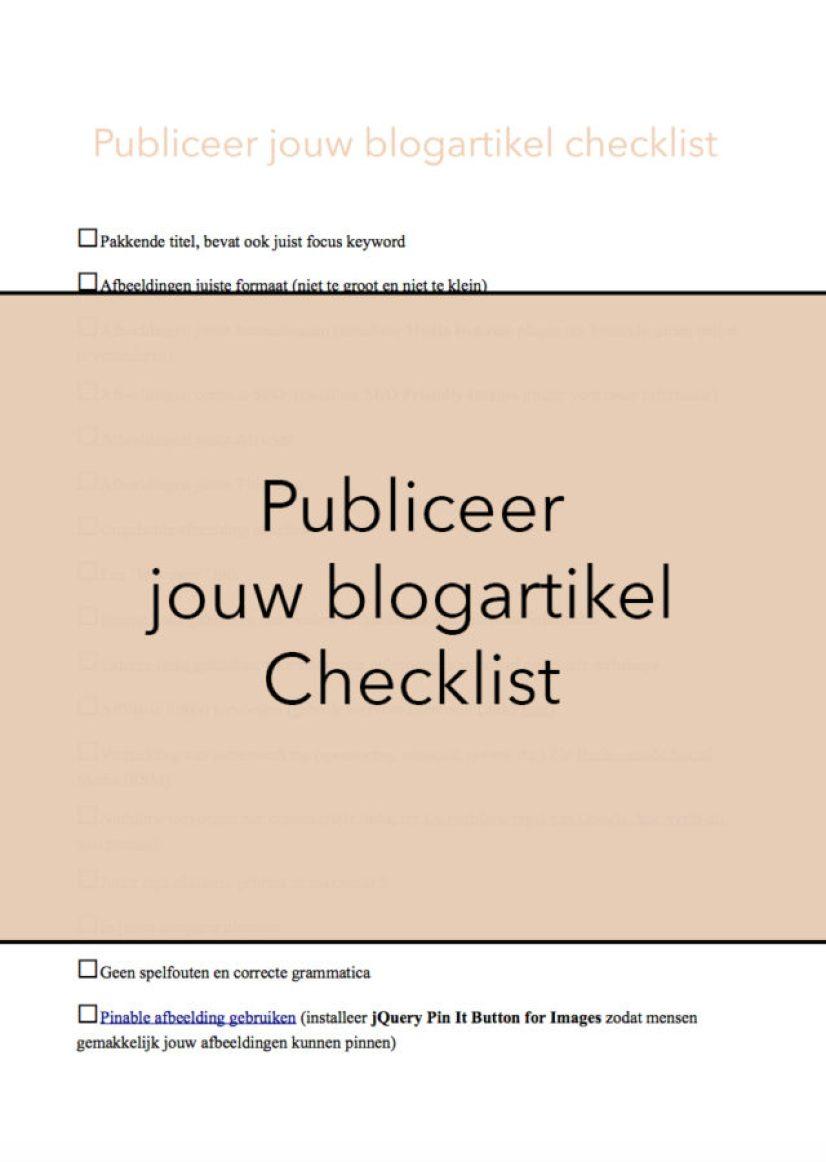 Publiceer jouw blogartikel checklist