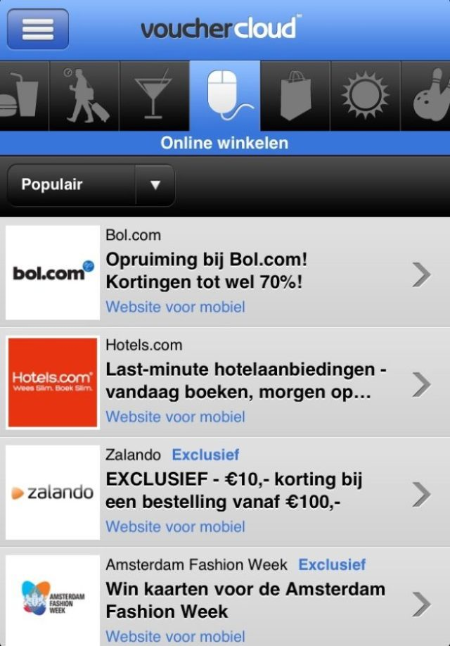 Vouchers en kortingen via Vouchercloudn
