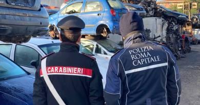 Roma Laurentina - maxi sequestro di impianti autodemolizione. Polizia Locale di Roma Capitale e interforze