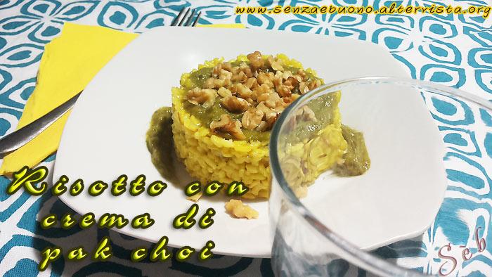 Risotto alla curcuma con crema di pak choi e granella di noci