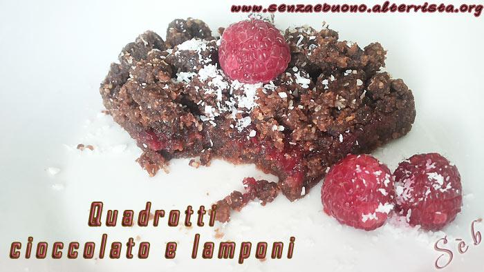 Quadrotti al cioccolato e lamponi
