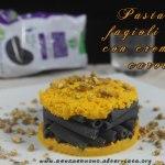 Pasta di fagioli neri con crema di carote e polvere di pistacchi