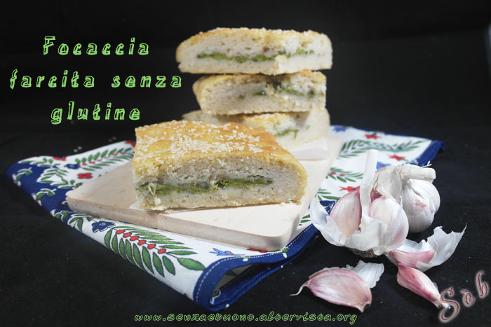 Focaccia ripiena senza glutine vegan