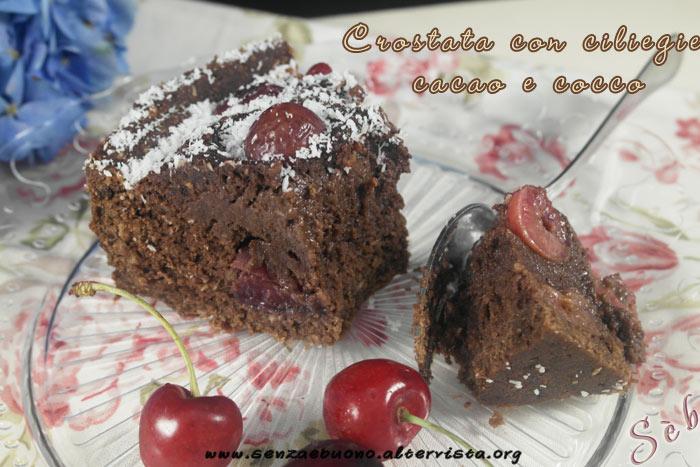 Crostata con ciliegie, cacao e cocco