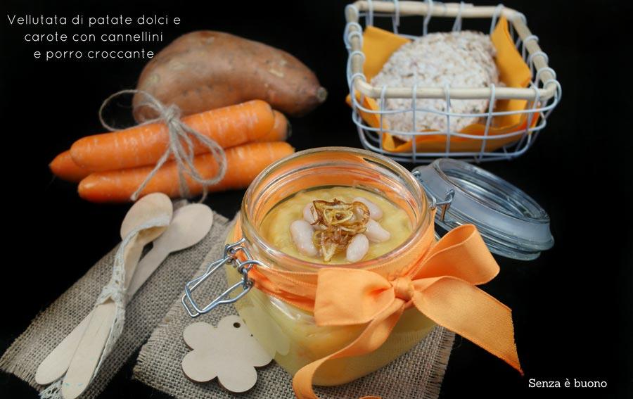 Vellutata di patate dolci e carote con cannellini e porro croccante