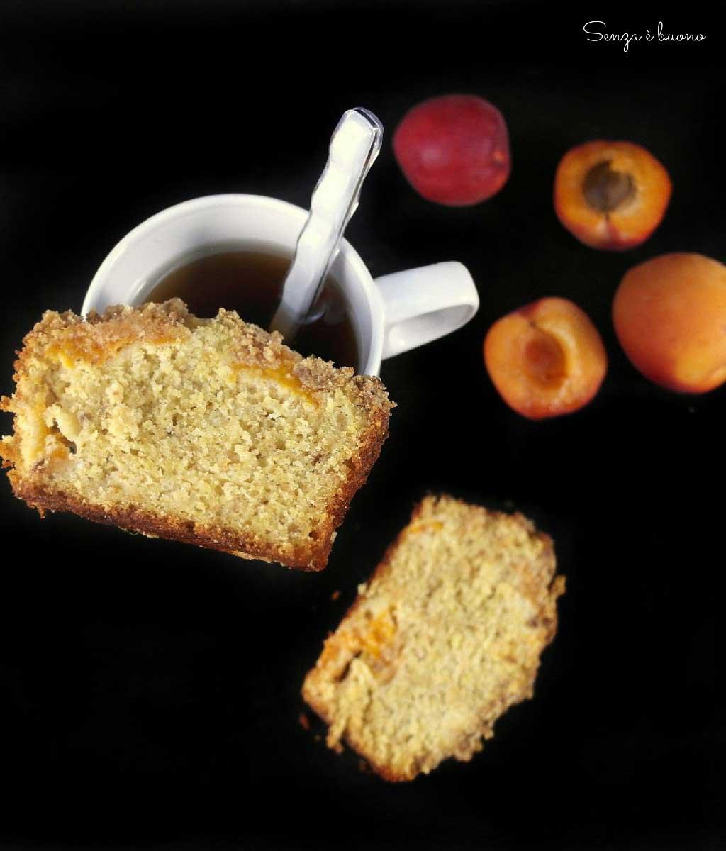 Plumcake con albicocche fresche e crumble croccante senza glutine senza latticini sugarfree