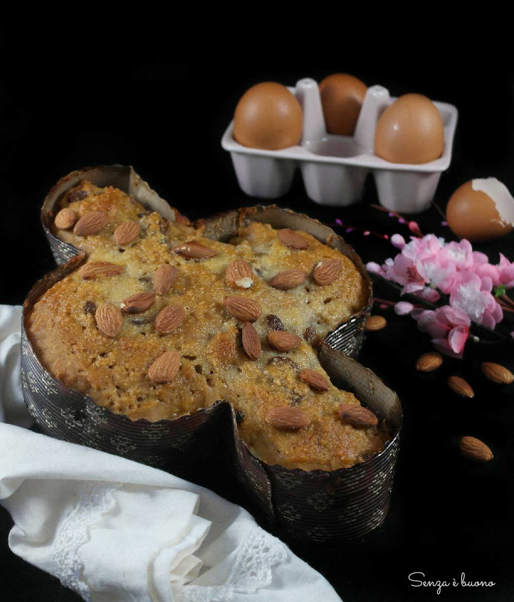 Colomba senza glutine senza burro con farine naturali e lievito madre