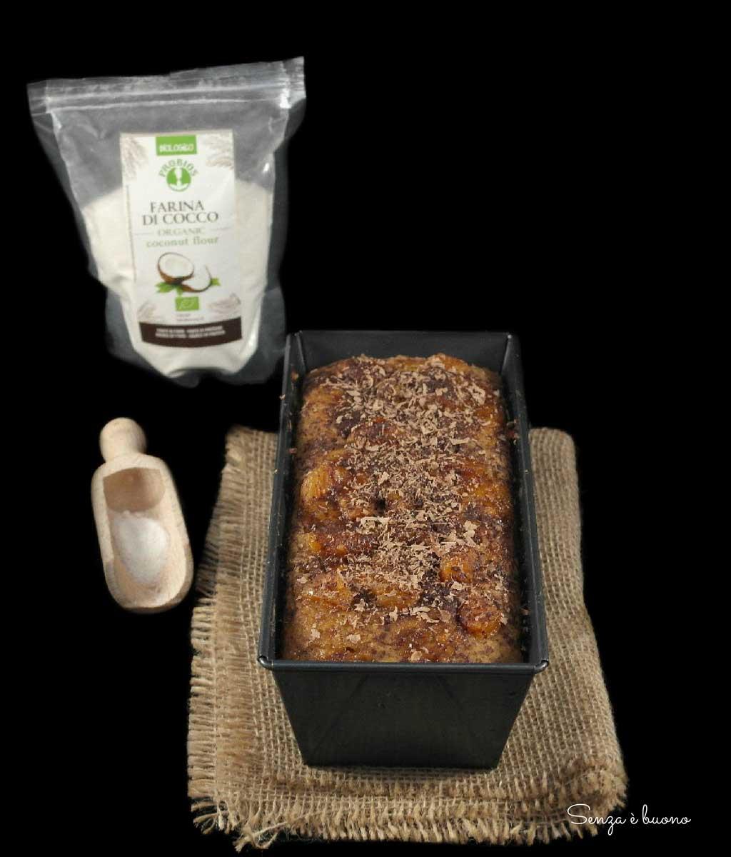 Plumcake cocco e albicocche disidratate vegan e senza glutine