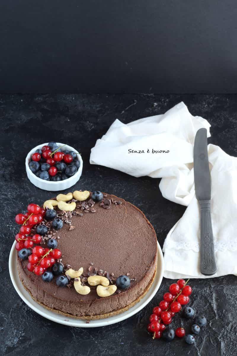 Cheesecake senza forno vegan senza glutine