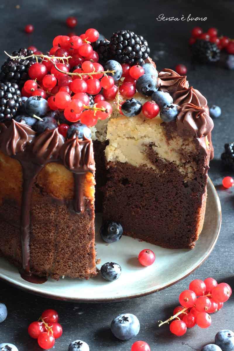 torta bicolore senza glutine vegan