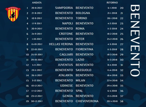 Calendario Serie A TIM - Benevento Calcio