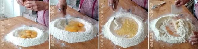 preparazione dell'impasto della pasta all'uovo