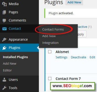 contant form blog wordpress