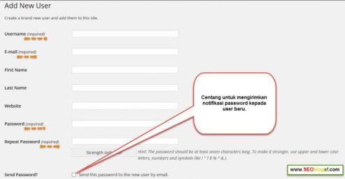 formulir menambah user baru wordpress