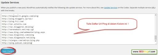 masukkan update ping service wordpress