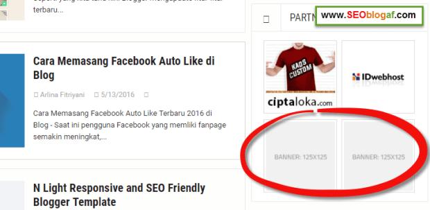 contoh slot iklan kosong pada blog