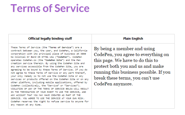 CodePen Terms of Service