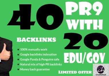 40 PR9 Backlinks and 20 .Edu/.Gov Backlinks only